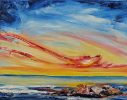 Painting of Sunset over Beach
